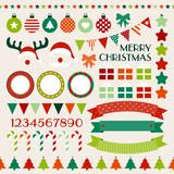 Retro Christmas Set Red/Green/Orange/Beige