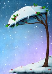 Snowy tree umbrella