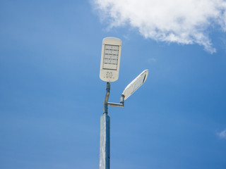 street light on blue sky
