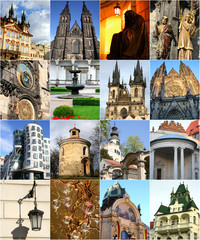 Collage of landmarks in Prague