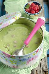Matcha ice cream with raspberries