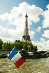French flag against Eiffel tower