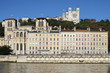 Lyon with basilica, cathedral and Saone river