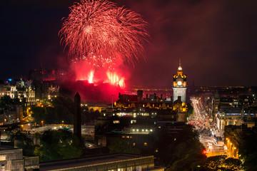 Edinburgh Cityscape with fireworks over The Castle