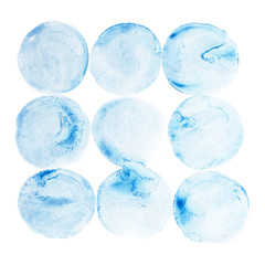 Abstract watercolor aquarelle hand draw circle  blue art paint
