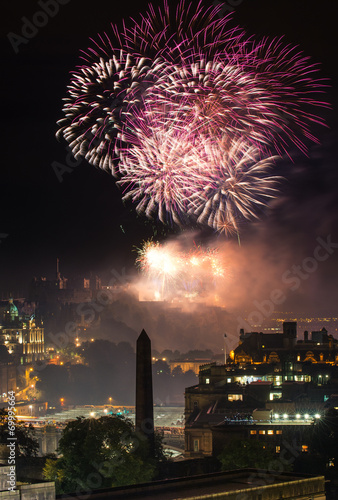 canvas print picture Edinburgh Cityscape with fireworks over The Castle