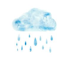 Hand draw aquarelle art paint blue watercolor cloud rain drop