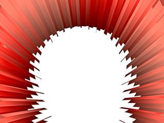 Abstraktes, rotes Objekt - nach hinten verjüngend