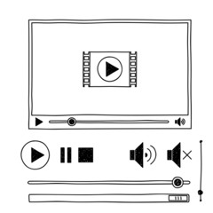 Hand draw sketch doodle video player for web
