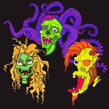 tête des zombies. personnage de dessin animé