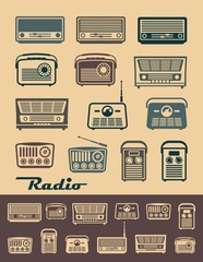 Set of icons of retro radio receivers
