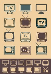 Retro tv receiver vector - Illustration