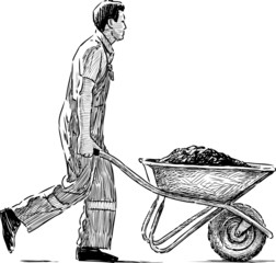 laborer with a wheelbarrow