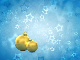 Golden christmas baubles on blue background