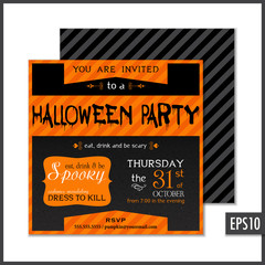 Halloween Invitation Black Orange Square
