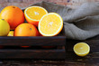 citrus oranges and lemons in the drawer