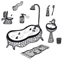 Hygiene and bathroom elements set