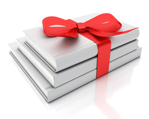 blank white books as gift with red ribbon