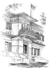 colonial building sketch