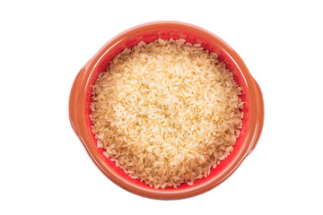 Ceramic bowl with dry rice