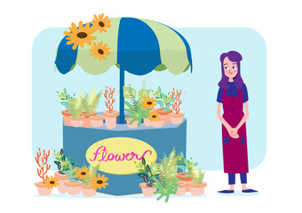 florists woman with her flowers shop
