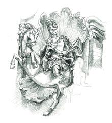 Cambodia art statue sketch