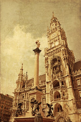 New Town hall with Marian column at Marienplatz (Mary's Square),
