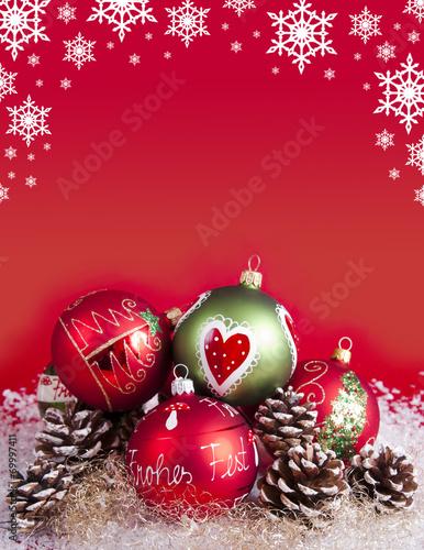 canvas print picture Weihnachtskugeln mit Dekoration und Sternen
