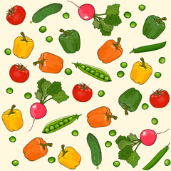 Vegetables seamless vector pattern