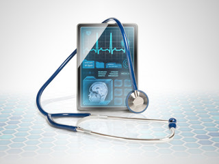 Modern medical tablet on futuristic background