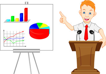 cute businessman and presentation results