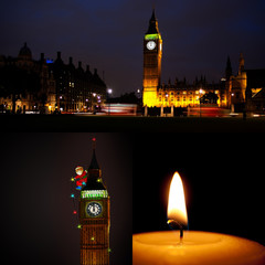 London Christmas and New Year collage: Santa on Big Ben etc