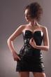 girl in a dress of black latex