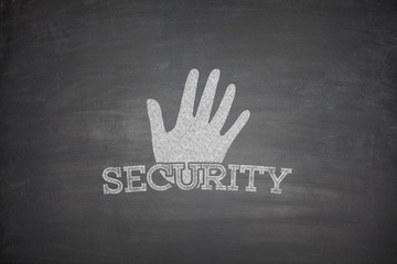 Security concept on blackboard