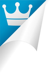 crown page peel in blue background