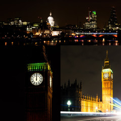 London by night collage. Midbight, New Year.