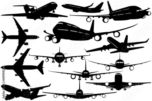 Silhouettes of passenger airliner - contours of airplanes