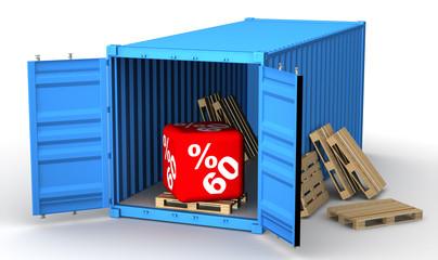 Скидка 60 процентов в открытом грузовом контейнере