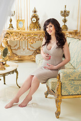 Fashionable pregnancy. Future mother in an expensive interior