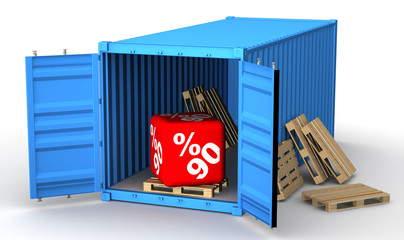 Скидка 90 процентов в открытом грузовом контейнере