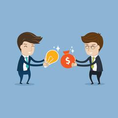 Businessman  trading money and idea