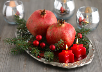 Christmas decoration with pomegranates