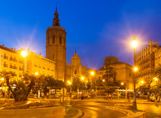 Night view of  Plaza de la Reina. Valencia, Spain