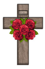 Wooden cross with roses