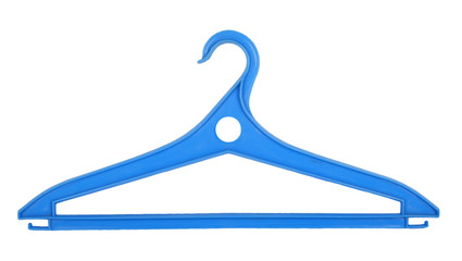 Blue plastic clothes hanger