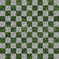 white and green checkered lawn