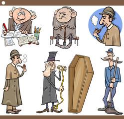 retro people set cartoon illustration