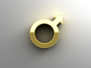Male sex signs - gold 3D quality render on the wall background w