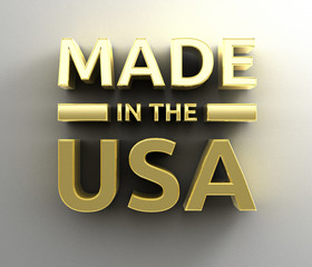 Made in the USA - gold 3D quality render on the wall background