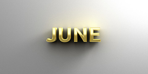 June month gold 3D quality render on the wall background with so